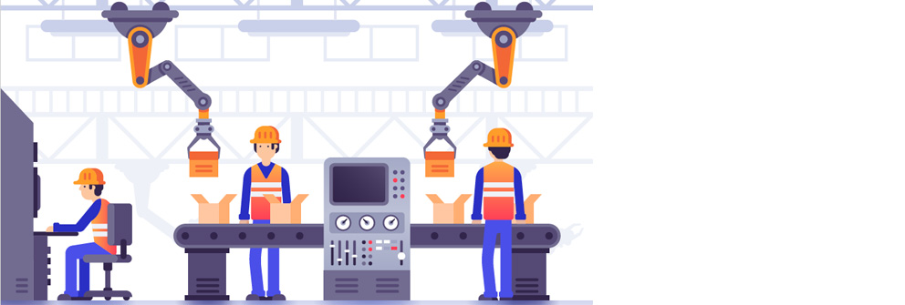 chaine production usine infographie